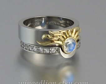 Sun and Moon ECLIPSE engagement and wedding ring set in silver & 18k gold with Moonstone and white sapphires