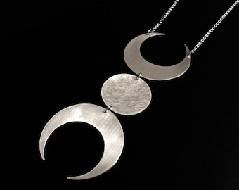 Triple Goddess Silver Moon Necklace Divine Feminine Bold Symbolic Pendant Statement Jewelry