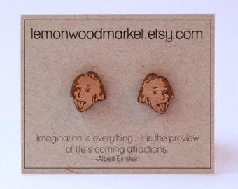 Einstein earrings - alder laser cut wood earrings