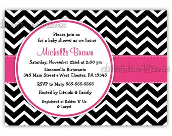 Black And White Chevron With Any Color Baby Shower, Birthday or Any Event Invitation (Digital File)