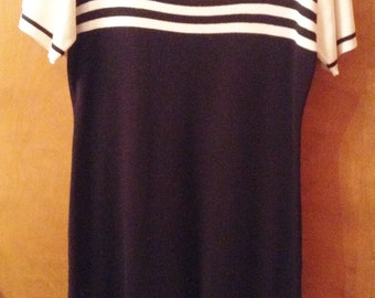 Blue and white knit dress by John Roberts.