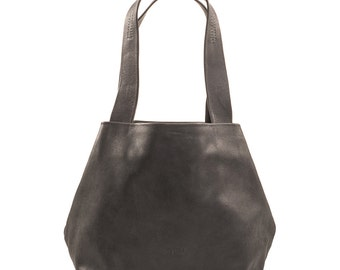black leather bag - black leather handbag - black leather tote purse - black leather shoulder bag - black leather tote bag - CLS2L