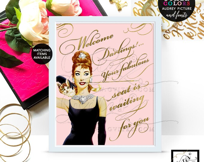 Pink Audrey Hepburn welcome darlings sign poster, decorations, blush and gold party signs, printable, breakfast at 8x10. CUSTOMIZABLE