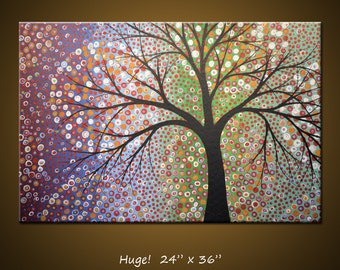 Modern Landscape Original Large Abstract Painting Contemporary Trees ... 24 x 36 .. Constellations, by Amy Giacomelli