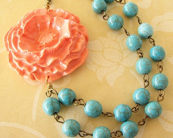 Statement Necklace Turquoise Jewelry Coral Necklace Flower Necklace Beaded Necklace Gemstone Necklace Multi Strand Gift For Her