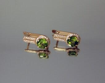 Peridot earrings, Fine earrings, Simple earrings, Everyday earrings, Gemstone earrings, Birthstone earrings, Halo earrings, Modern earrings