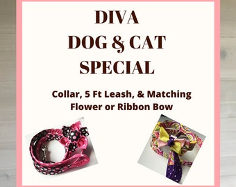 Diva Dog & Cat Package- Collar Leash and Flower