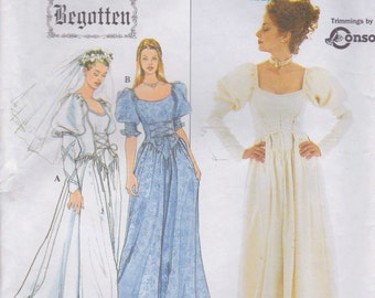 Wedding Dress Pattern  Vintage Look Wedding Dress Size 6 - 8 - 10 uncut Simplicity 8502