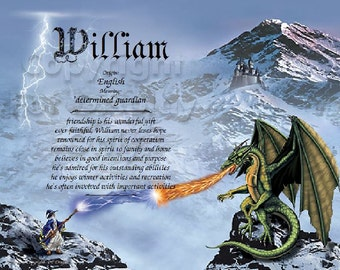 Dragon and Wizard Personalized Name Meaning Print