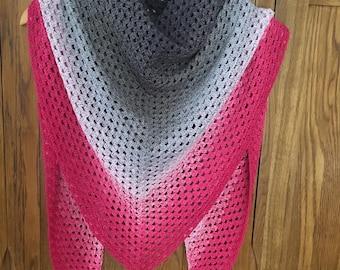Pink shawl - grey shawl - shawl , scarf - pink scarf - crochet shawl