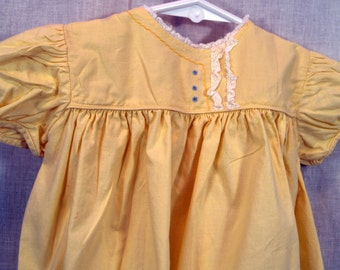 Size 9 Months Vintage 50s Nanette Originals Babe Frock Yellow Girl Baby Dress