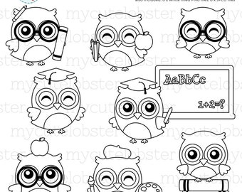 School Owls Digital Stamps - line art, cute owls outlines, school, owl, stamps - personal use, small commercial use, instant download