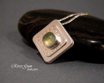 Green Prehnite Pendant, Sliding Gemstone Pendant, Sterling Silver, Handmade by RiverGum Jewellery