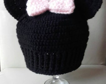 Toddler minnie hat, Crochet minnie hat, baby minnie mouse  hat, mouse hat, ready to ship