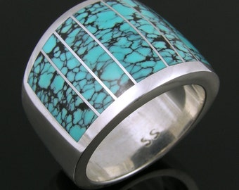Spiderweb Turquoise Ring in Sterling Silver, Turquoise Inlay Ring, Spiderweb Turquoise Band in Silver