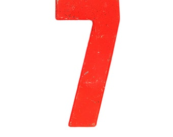 """7 1/2"""" Vintage Metal Number 7 Red/Orange - Marquee Signage Sign - Wedding Birthday Numbers Kid's Party Decor Sports House Address Outdoor"""