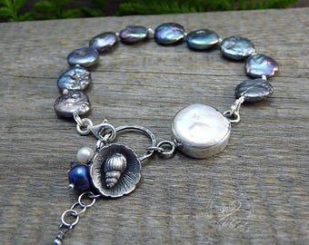 Natural Pearls Bracelet, Sterling Silver Jewelry, Sea Shells Bracelet, Summer Jewelry, Blue Pearls Bracelet, Gift For Her, OOAK