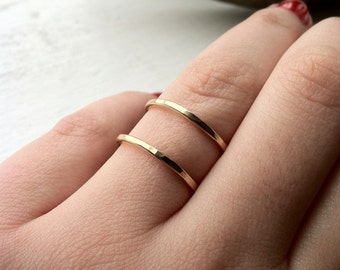 Hammered Finished Adjustable 14k Gold Fill Double Stacking Ring - custom made to order