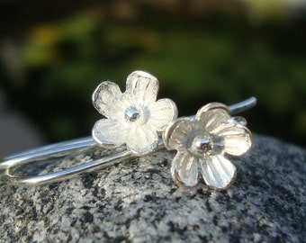 bulk 5 Pairs, 26x12 mm, 8mm lotus flower, 925 Sterling Silver Larger Lotus Blossom Floral Ear wires - EW-0026