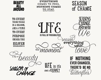 Season of Change Wordart- 12 Wordart- Brush- Digital Stamp