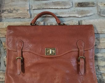 Stone Haven Made in Italy Brown Leather Breifcase/Labtop Bag/Travel Bag.