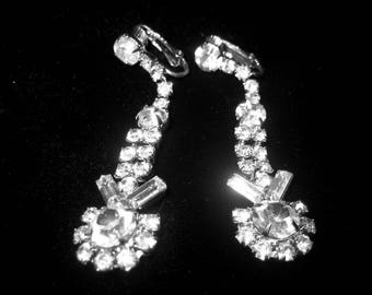 Vintage Prong Set Long Rhinestone Earrings