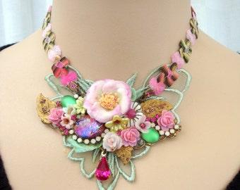 romantic floral necklace  blossom