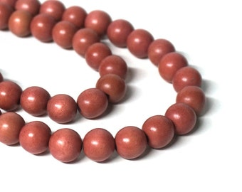 12mm round wood beads, mauve pink, eco-friendly wooden beads (949R)
