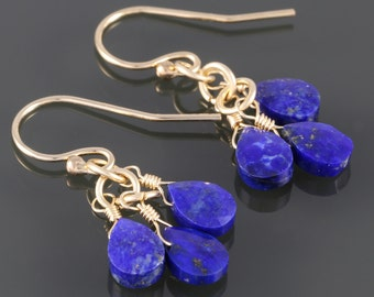 Lapis Lazuli Cluster Earrings. Three Stones. Gold Filled Ear Wires. September Birthstone. Genuine Gemstone. f17e044