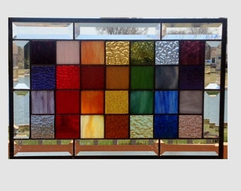 Beveled stained glass panel window rainbow squared geometric abstract stained glass window panel modern window hanging 0350 17 1/2 x 11 1/2