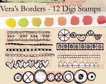 Vera's Borders - 12 doodle border digi stamps available for instant downlaod