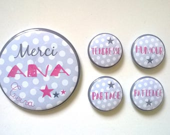 Thank you - Set of 1 Magnet 56 mm + 4 25mm - customizable polka dot pink