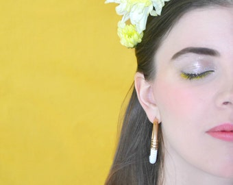 Gold Plated hoops Earrings Summer Kiss, Golden and white vinyl thread, Hight Quality champagne gold plated