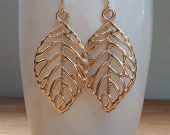 Solid gold leaf earrings