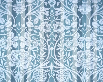 Retro Wallpaper by the Yard 70s Vintage Wallpaper - 1970s Blue and Silver Floral Stripe Damask