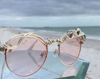 Artisan Pink Sunglasses Women, Silver Wire Art w/ Amethyst, Boho Hippie Gypsy Sunglasses, Fashion Trend Sun glasses Sunnies Eyewear new