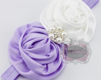 Purple Headband Newborn Baby Girl Adult Lavender Purple Flower Pearl Rhinestone Headband! Purple & White Headband! Newborn Photo Prop
