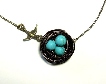 Brass Birdie Goes to Its Nest Necklace