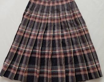 Vintage 1980s Wool Blend Pleated High Waist Modest Skirt Navy Khaki Plaid XSmall Small