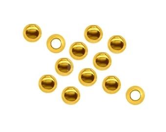 10pcs 3mm Vermeil 24k Gold over  Sterling Silver Beads, Silver Beads, Silver 925, Beading, Jewelry Making