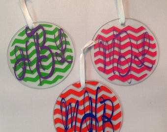 Monogrammed Chevron Glass Circle