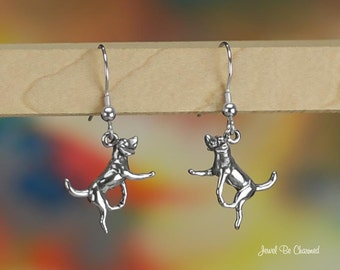 Hound or Foxhound Earrings Sterling Silver Pierced Earwires Solid .925