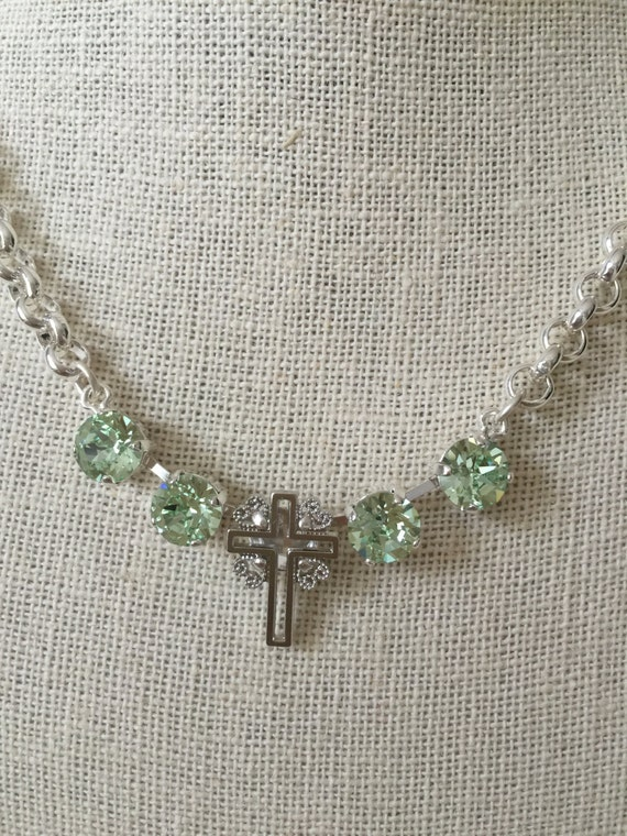 Filigree Cross Necklace with Chrysolite Crystals