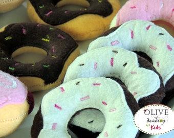 Set of 6 Wool Felt Donuts, Fake Food, Felt Food, Felt Donuts,  Pretend Play,  Doughnuts, Pretend Food Set, Jelly Donuts, Glazed Donuts