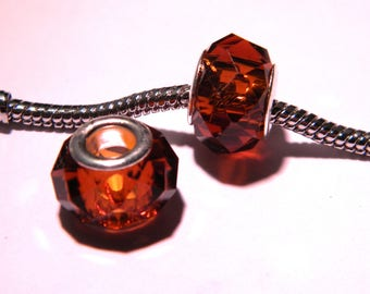 2 beads charm European-14 x 10 m - amber - PG70 faceted glass