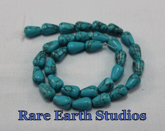 "7x12mm turquoise Magnesite Beads 15"" strand 60315084"