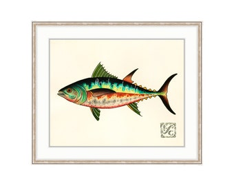 """Tuna Fish 11""""x14"""" Giclee Print Of A Watercolor Painting For The Saltwater Angler. Yellowfin. Bluefin. Mackerel. Skipjack"""