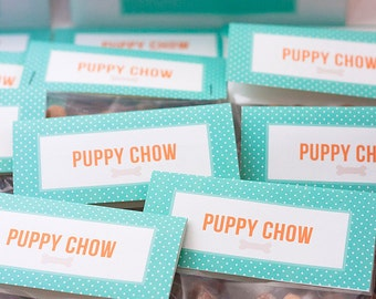 "Puppy Party Favors - ""Puppy Chow"" Dog Goodie Treat Bag Toppers - Printable Instant Download"