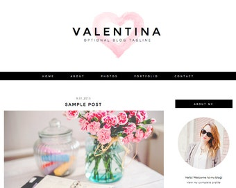 """Blogger Template, Blog Template - """"Valentina 