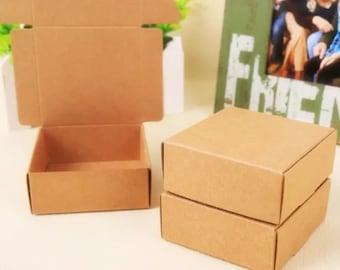 Kraft Paper Box - 2pcs Brown Kraft Boxes Paper Box Gift Boxes Gift Wrapping 80mm x 60mm x 22mm